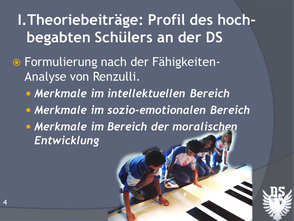 I.Theoriebeiträge: Profil des hoch- begabten Schülers an der DS