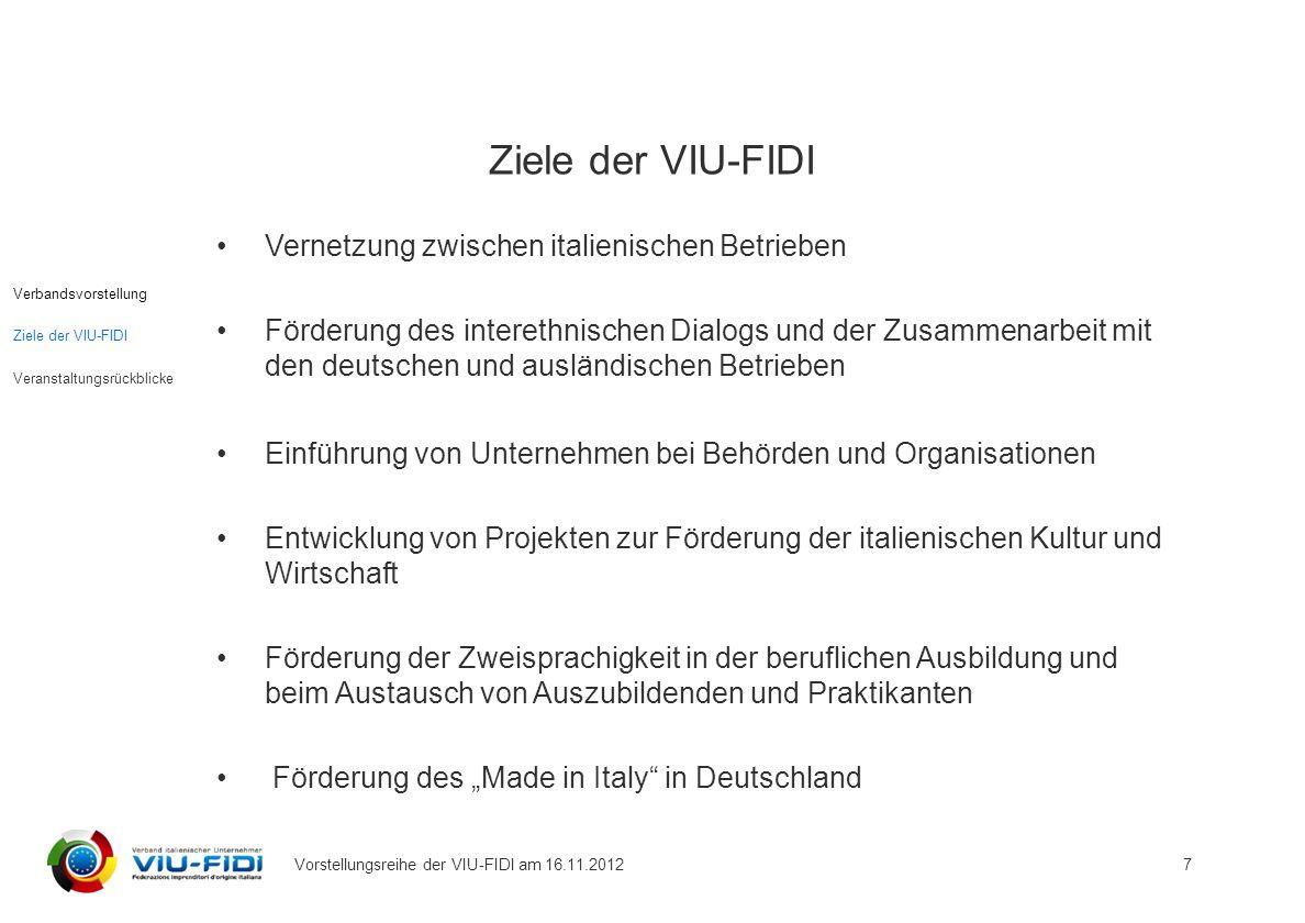 Ziele der VIU-FIDI Vernetzung zwischen italienischen Betrieben