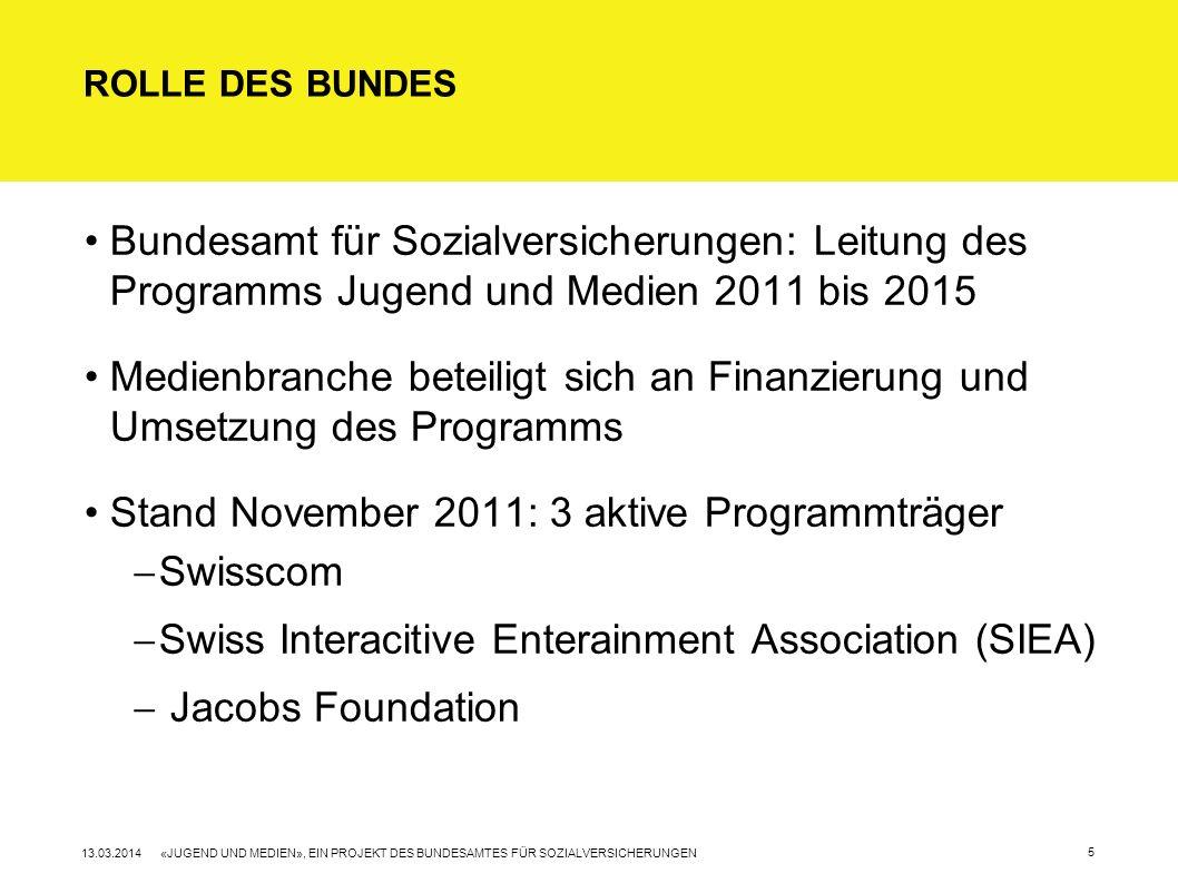 Stand November 2011: 3 aktive Programmträger Swisscom