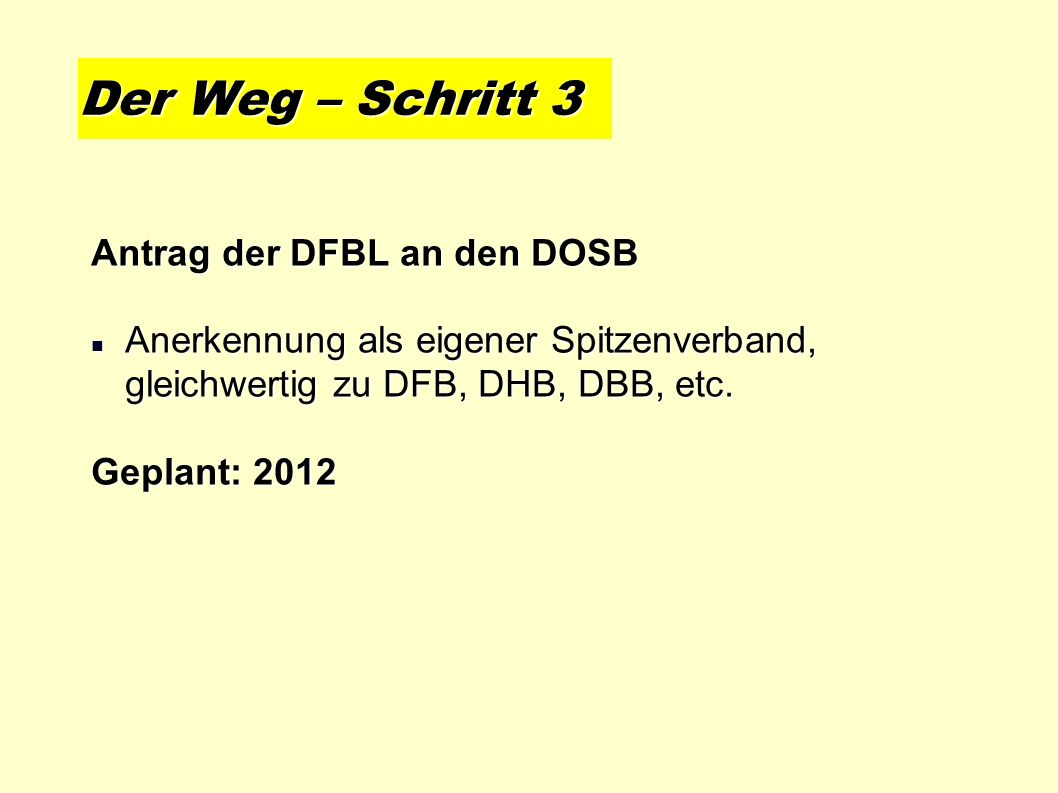 Der Weg – Schritt 3 Antrag der DFBL an den DOSB