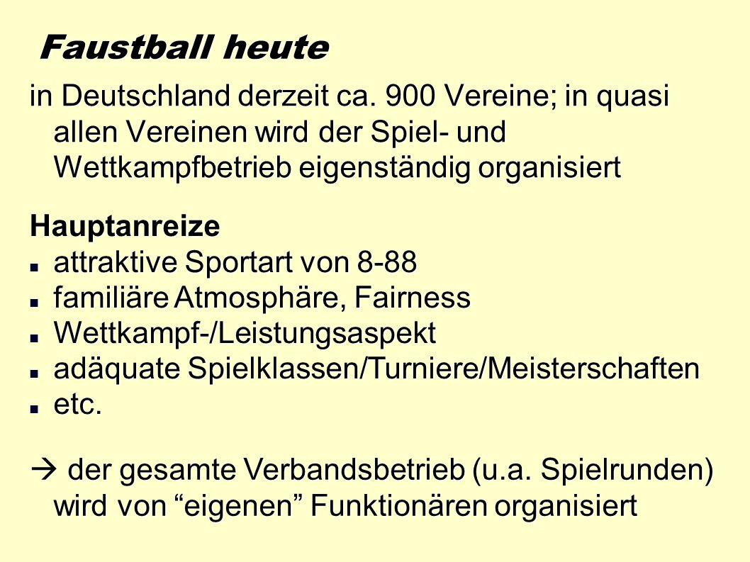 Faustball heute in Deutschland derzeit ca. 900 Vereine; in quasi allen Vereinen wird der Spiel- und Wettkampfbetrieb eigenständig organisiert.