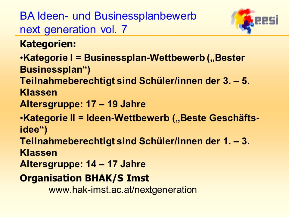 BA Ideen- und Businessplanbewerb next generation vol. 7