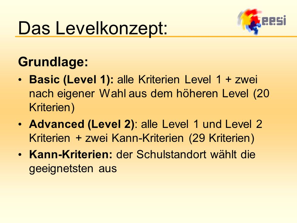 Das Levelkonzept: Grundlage: