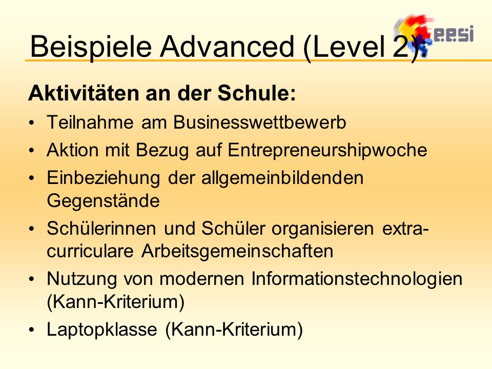 Beispiele Advanced (Level 2):