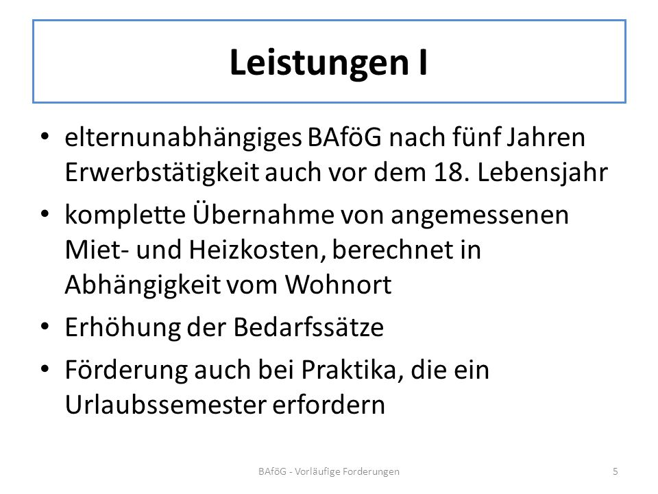 BAföG - Vorläufige Forderungen