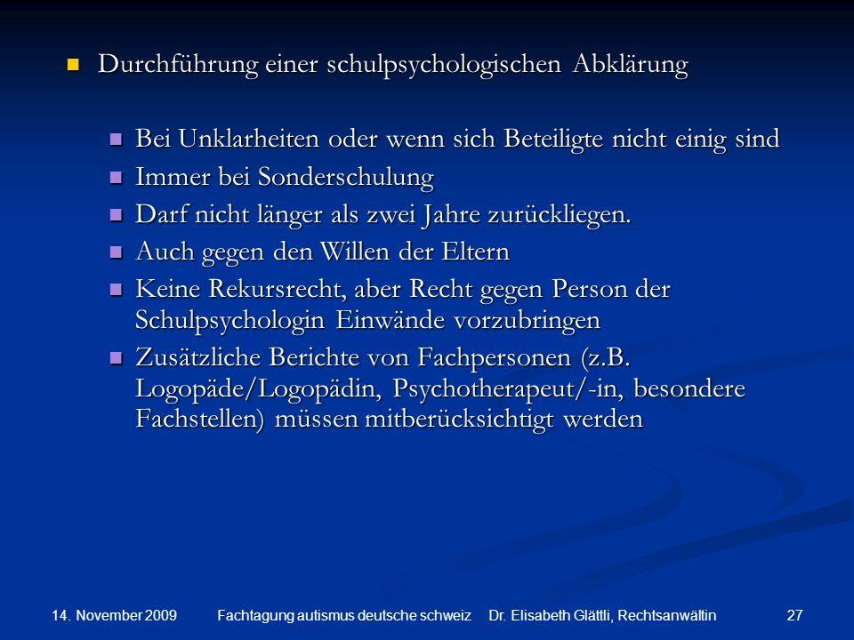Durchführung einer schulpsychologischen Abklärung
