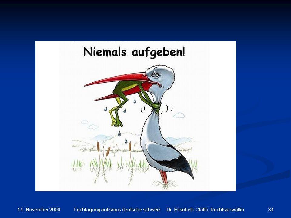 14. November 2009 Fachtagung autismus deutsche schweiz Dr. Elisabeth Glättli, Rechtsanwältin