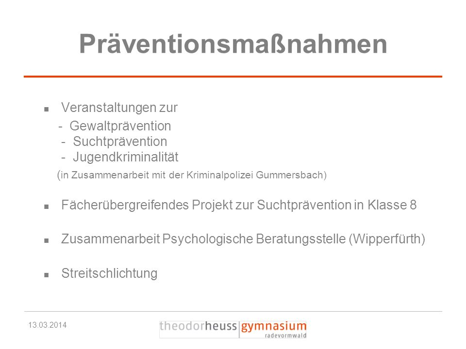 Präventionsmaßnahmen