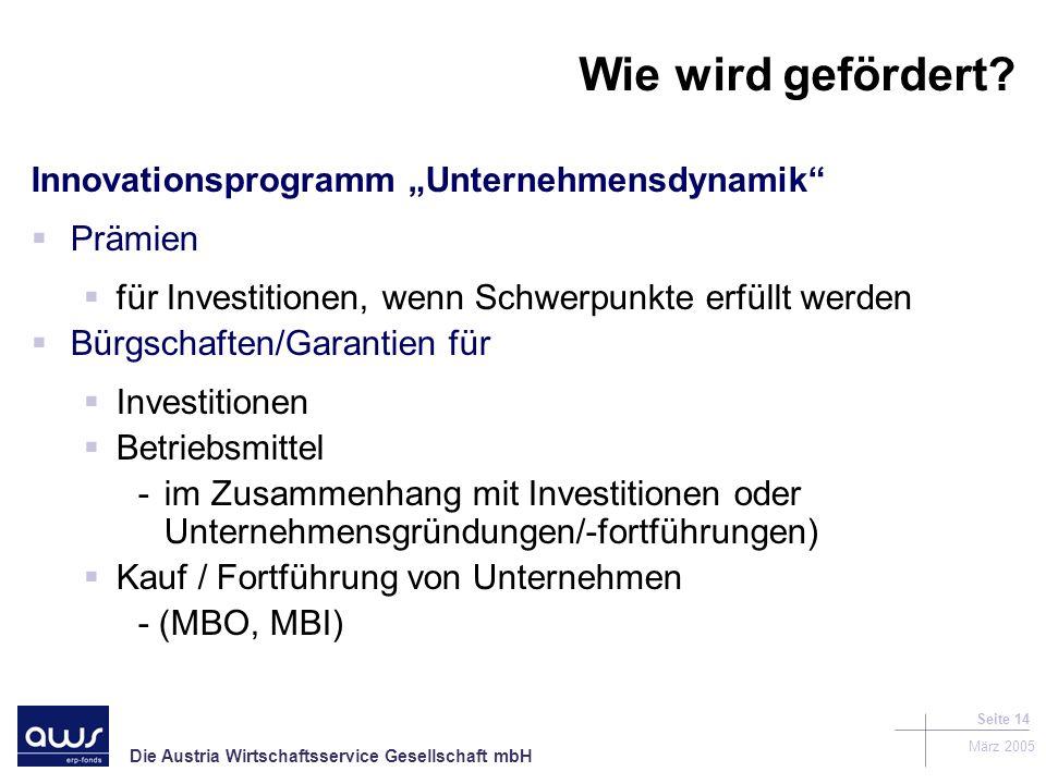 """Wie wird gefördert Innovationsprogramm """"Unternehmensdynamik Prämien"""