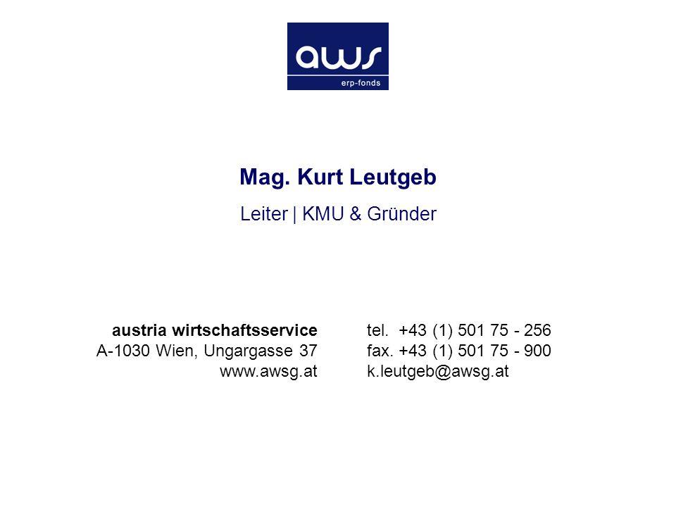 Mag. Kurt Leutgeb Leiter | KMU & Gründer austria wirtschaftsservice