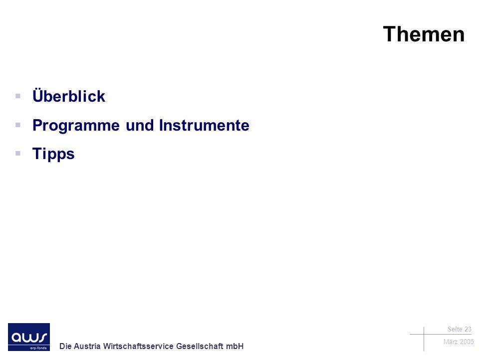 Themen Überblick Programme und Instrumente Tipps