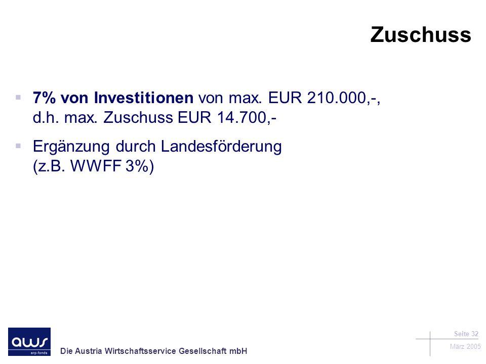 Zuschuss 7% von Investitionen von max. EUR 210.000,-, d.h.