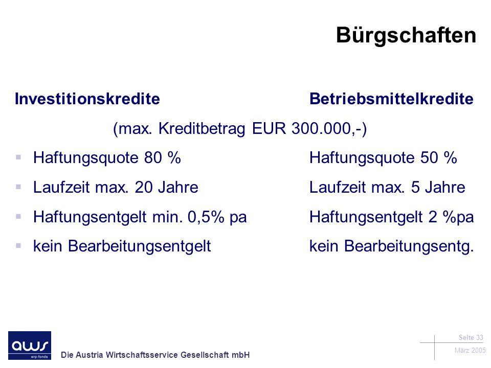 Bürgschaften Investitionskredite Betriebsmittelkredite