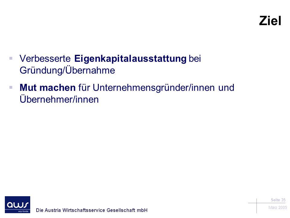 Ziel Verbesserte Eigenkapitalausstattung bei Gründung/Übernahme