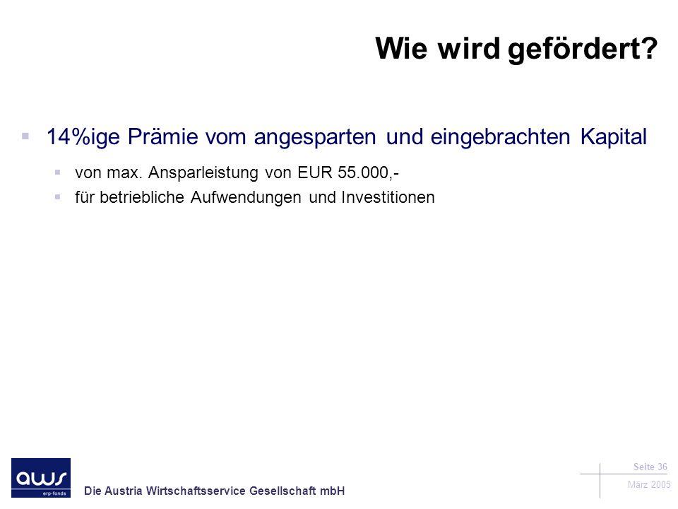 Wie wird gefördert 14%ige Prämie vom angesparten und eingebrachten Kapital. von max. Ansparleistung von EUR 55.000,-