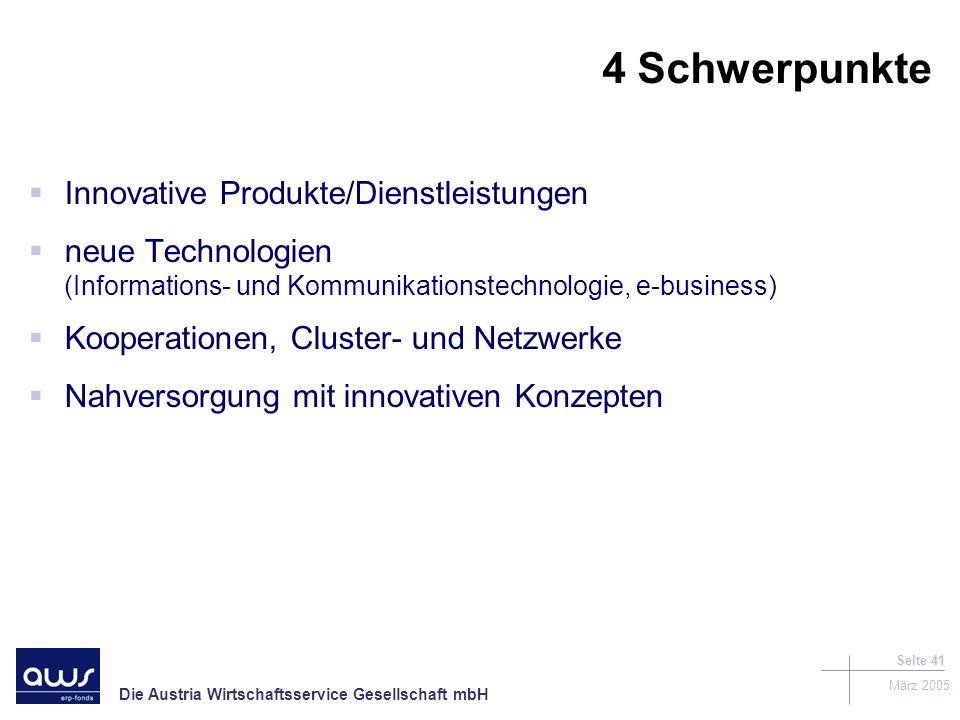 4 Schwerpunkte Innovative Produkte/Dienstleistungen