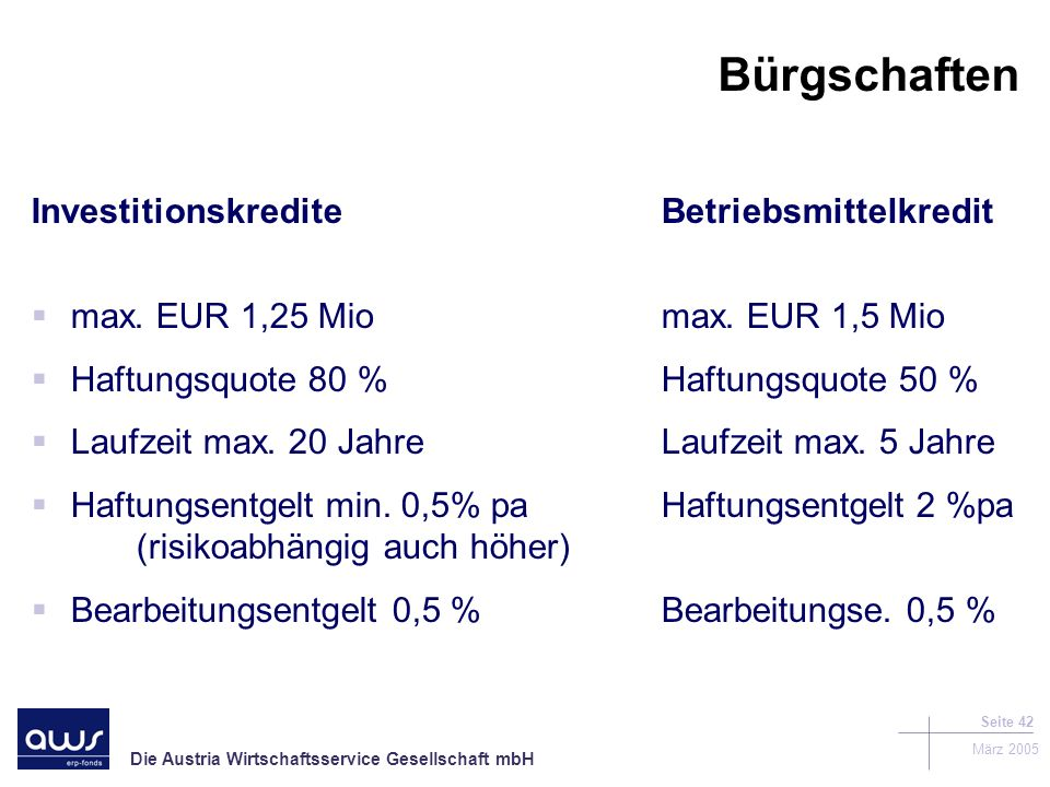 Bürgschaften Investitionskredite Betriebsmittelkredit
