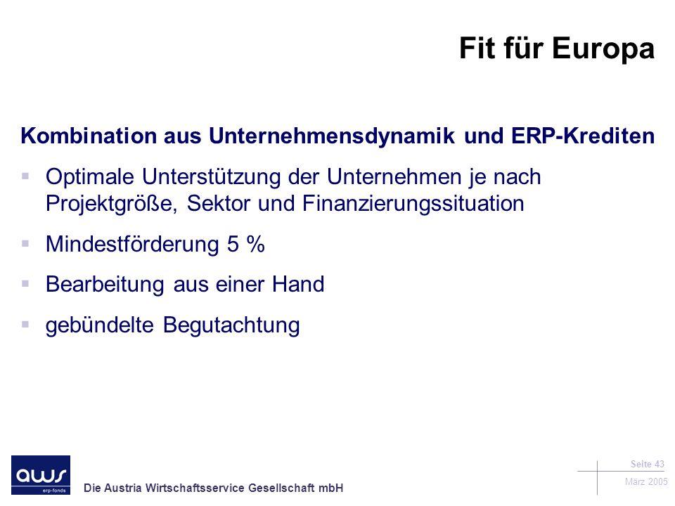 Fit für Europa Kombination aus Unternehmensdynamik und ERP-Krediten