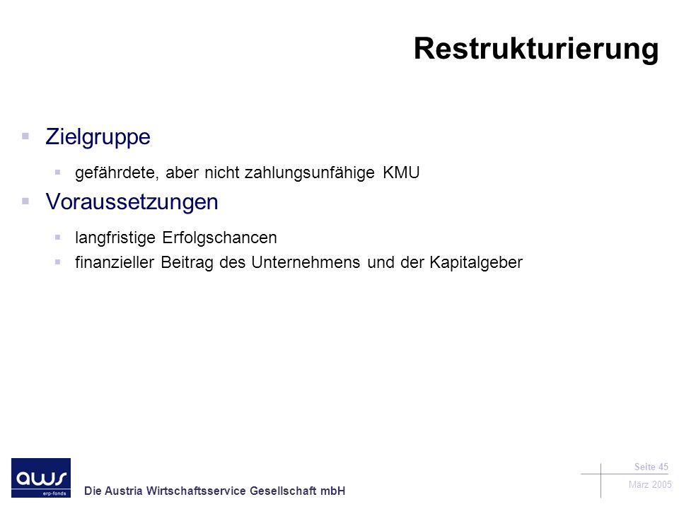 Restrukturierung Zielgruppe Voraussetzungen