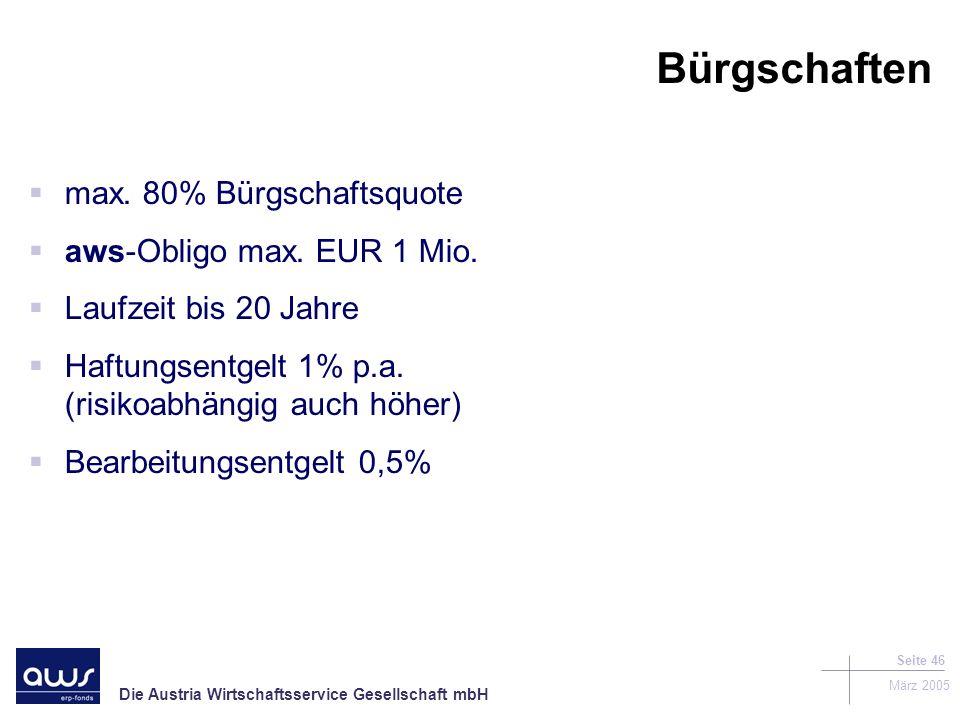 Bürgschaften max. 80% Bürgschaftsquote aws-Obligo max. EUR 1 Mio.