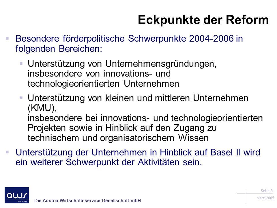 Eckpunkte der Reform Besondere förderpolitische Schwerpunkte 2004-2006 in folgenden Bereichen: