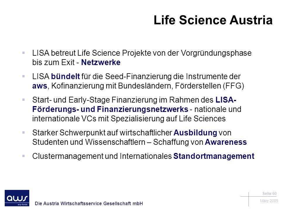 Life Science Austria LISA betreut Life Science Projekte von der Vorgründungsphase bis zum Exit - Netzwerke.