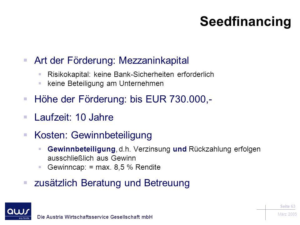 Seedfinancing Art der Förderung: Mezzaninkapital