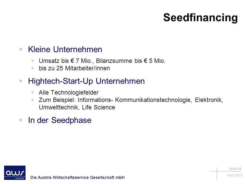 Seedfinancing Kleine Unternehmen Hightech-Start-Up Unternehmen
