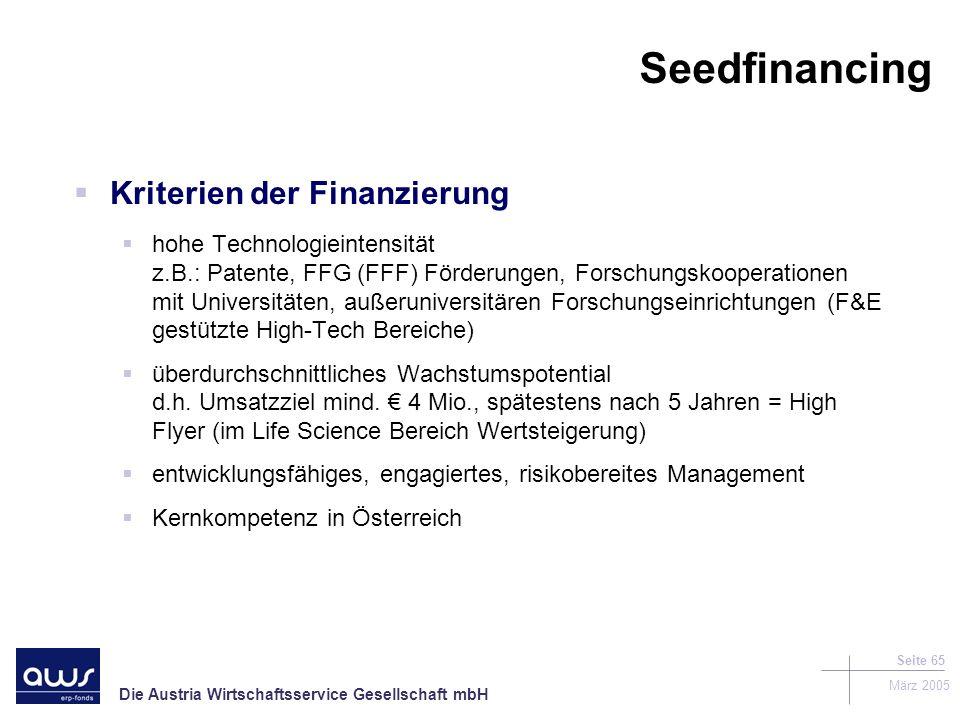 Seedfinancing Kriterien der Finanzierung
