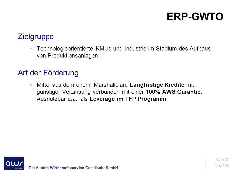 ERP-GWTO Zielgruppe Art der Förderung
