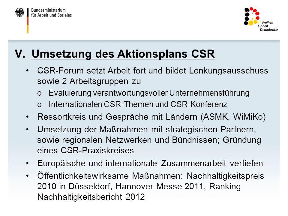 V. Umsetzung des Aktionsplans CSR