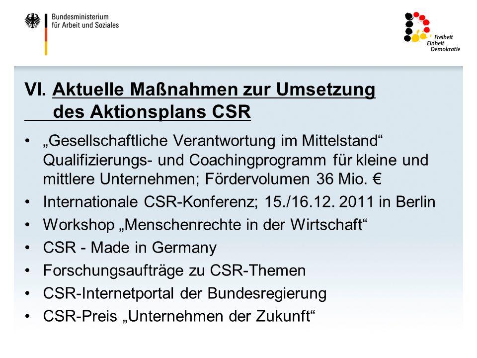 VI. Aktuelle Maßnahmen zur Umsetzung des Aktionsplans CSR
