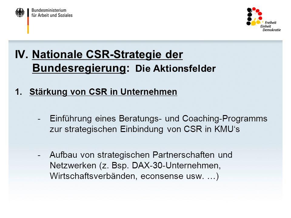 IV. Nationale CSR-Strategie der Bundesregierung: Die Aktionsfelder