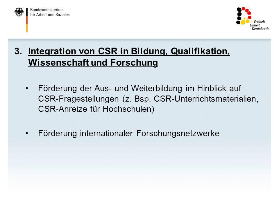 Integration von CSR in Bildung, Qualifikation, Wissenschaft und Forschung