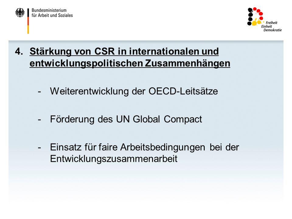 Stärkung von CSR in internationalen und entwicklungspolitischen Zusammenhängen