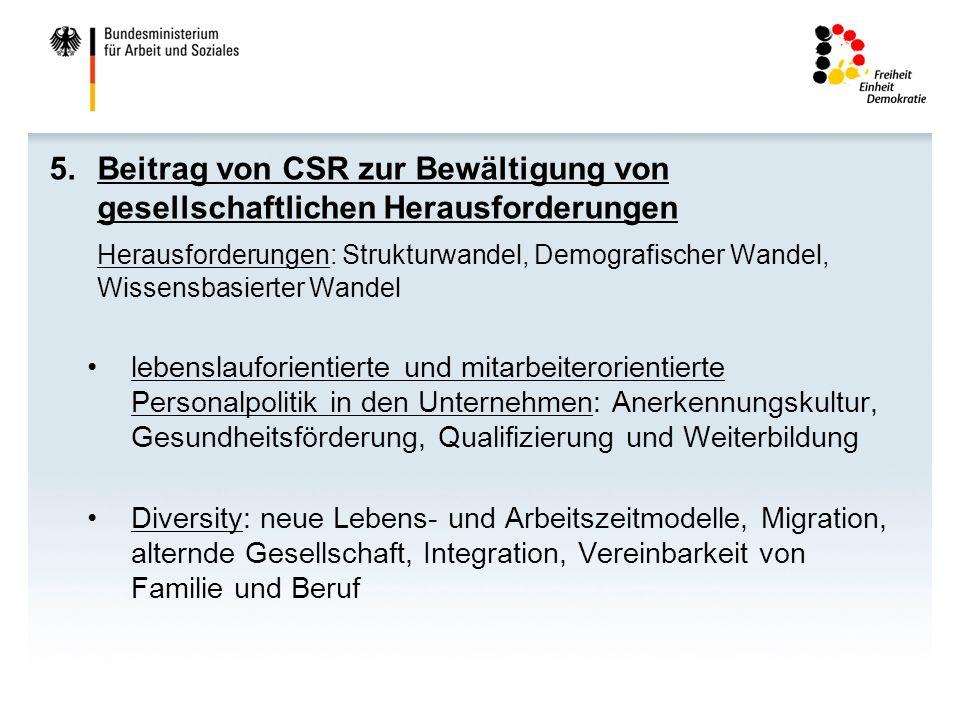 Beitrag von CSR zur Bewältigung von gesellschaftlichen Herausforderungen