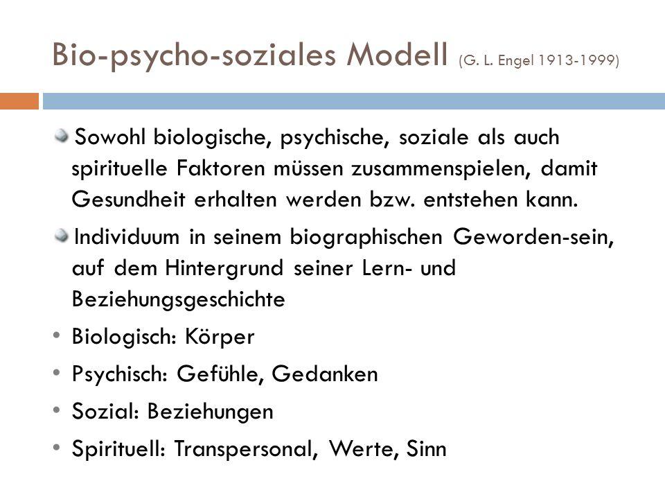 Bio-psycho-soziales Modell (G. L. Engel 1913-1999)