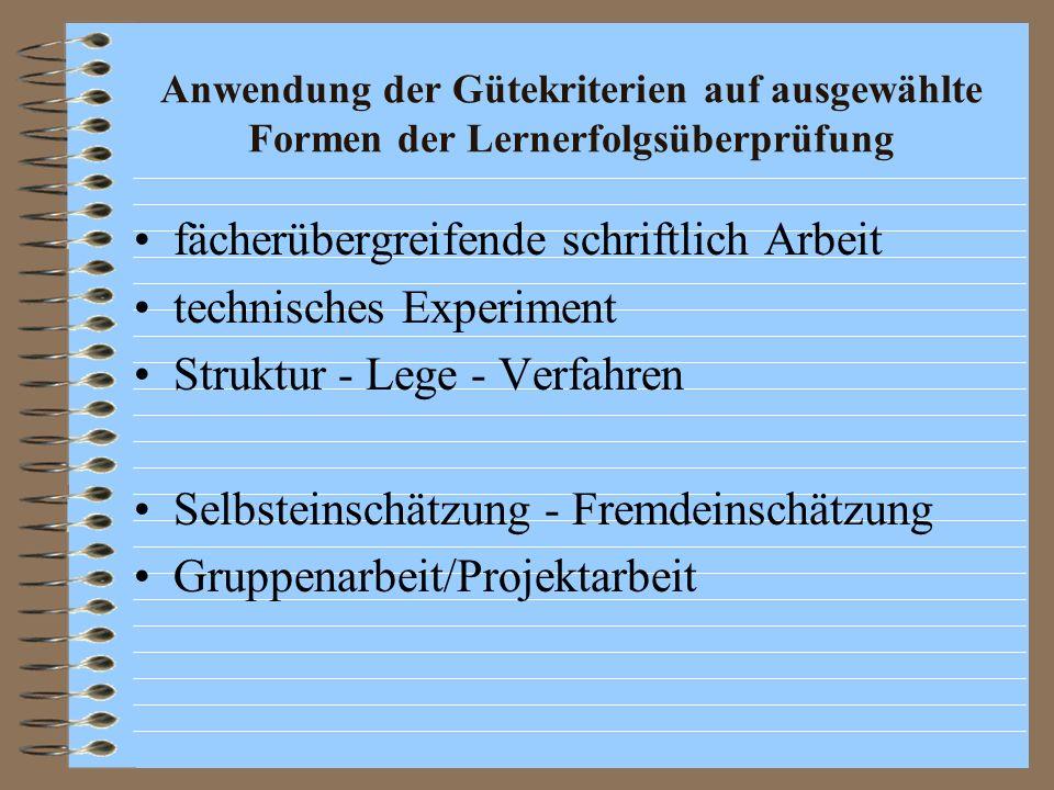 fächerübergreifende schriftlich Arbeit technisches Experiment