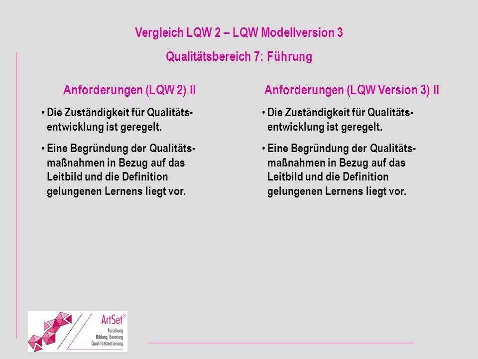 Vergleich LQW 2 – LQW Modellversion 3 Qualitätsbereich 7: Führung