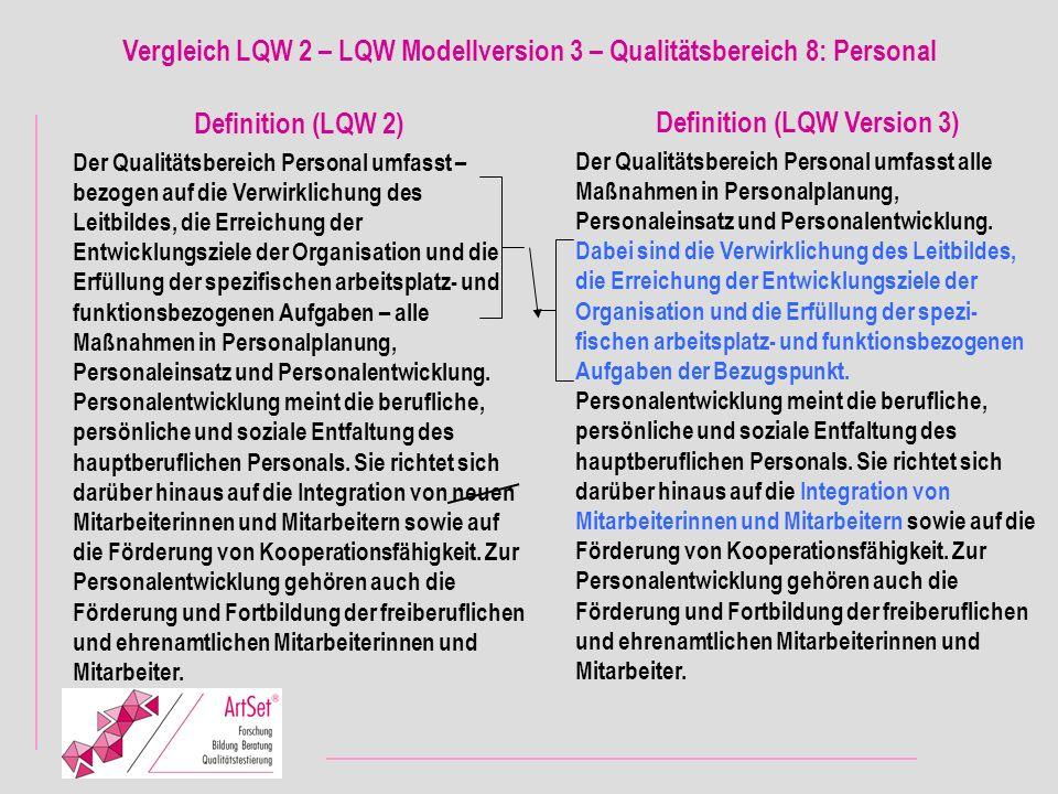 Vergleich LQW 2 – LQW Modellversion 3 – Qualitätsbereich 8: Personal