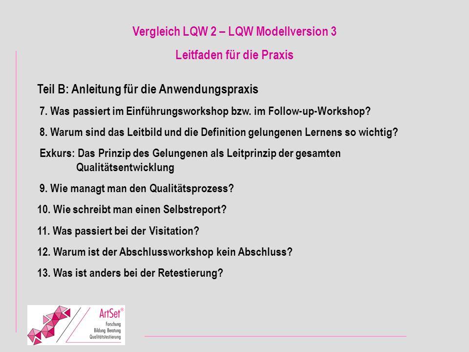 Vergleich LQW 2 – LQW Modellversion 3 Leitfaden für die Praxis
