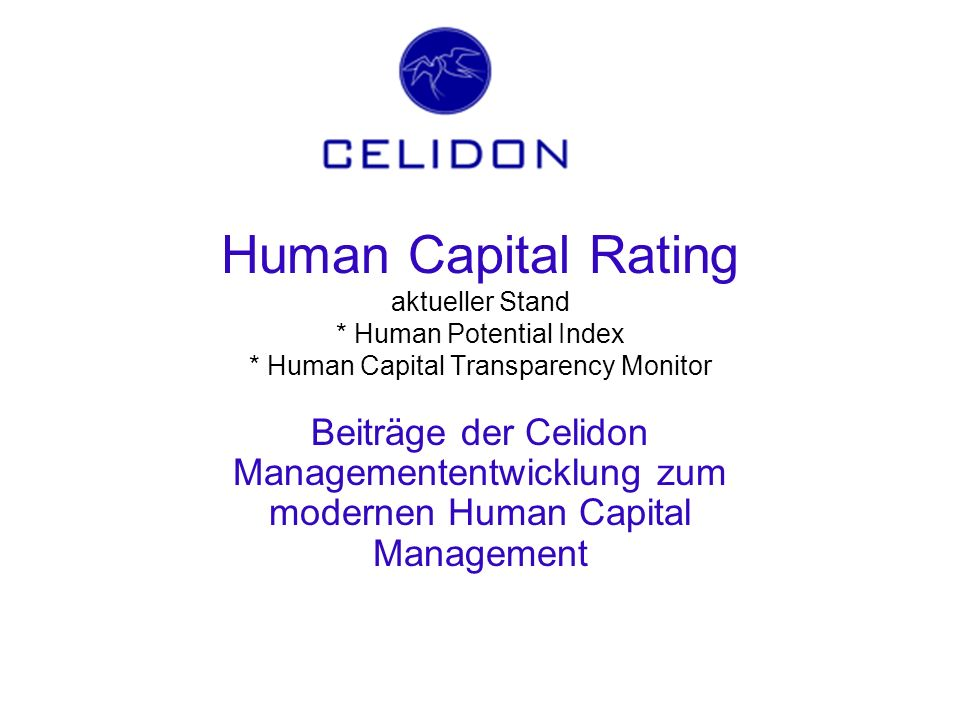 Human Capital Rating aktueller Stand. Human Potential Index