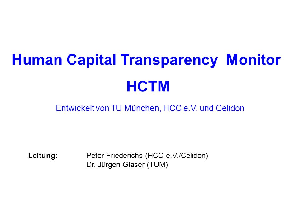 Human Capital Transparency Monitor HCTM