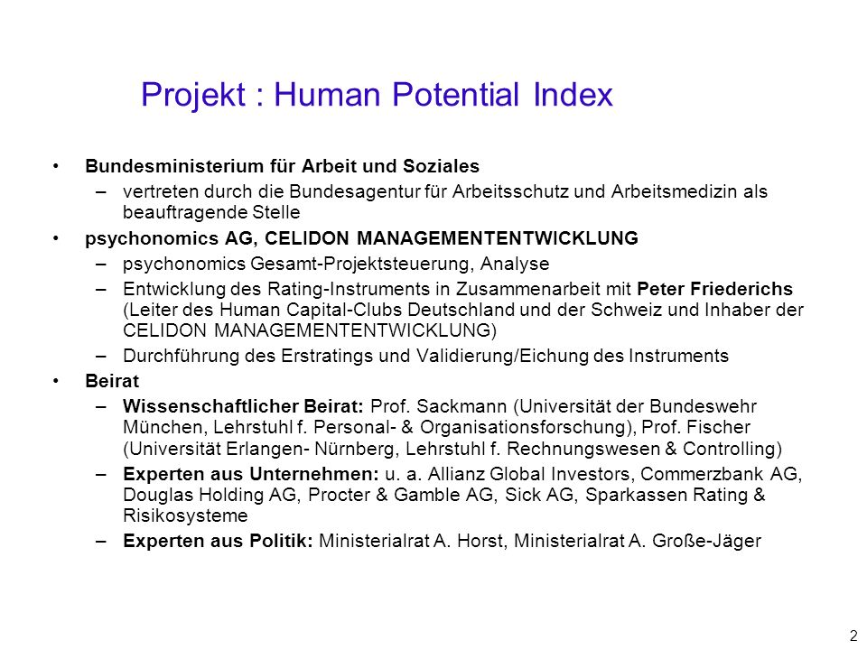 Projekt : Human Potential Index