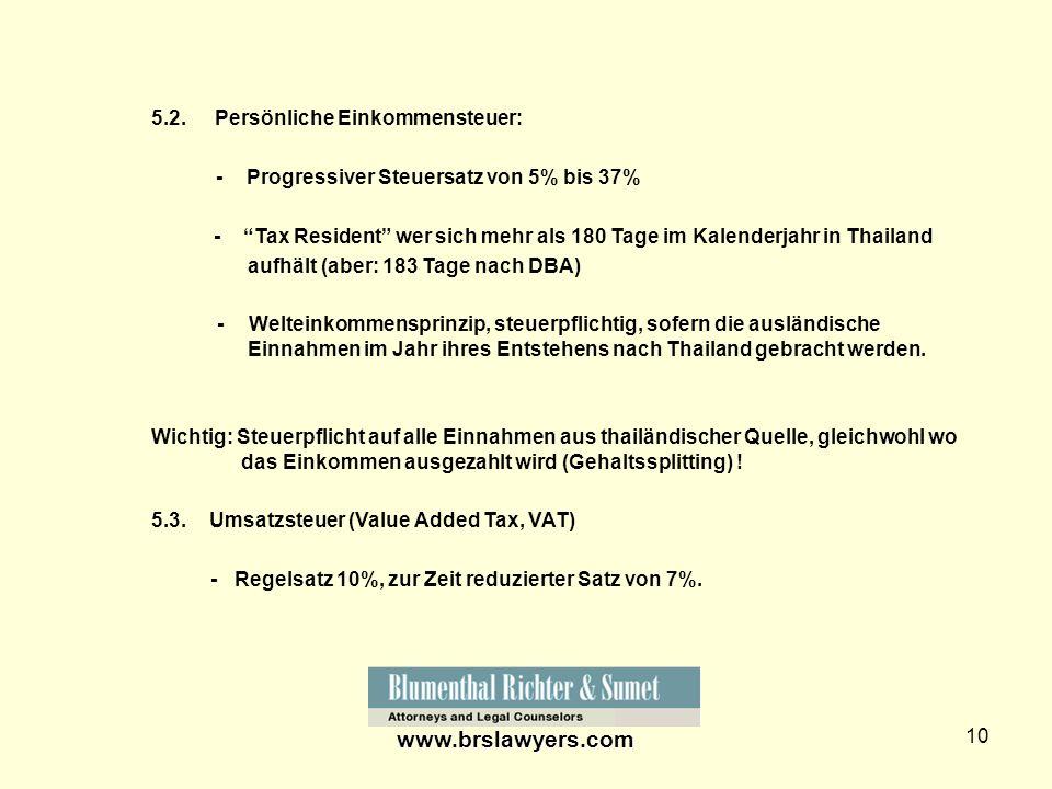 www.brslawyers.com 5.2. Persönliche Einkommensteuer:
