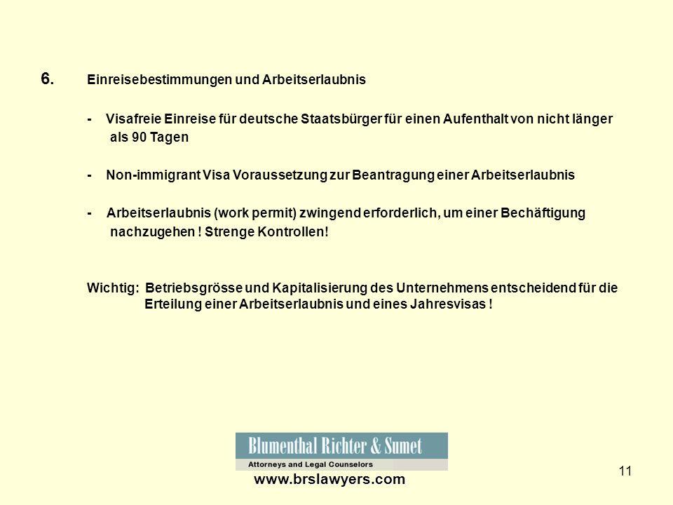 6. Einreisebestimmungen und Arbeitserlaubnis