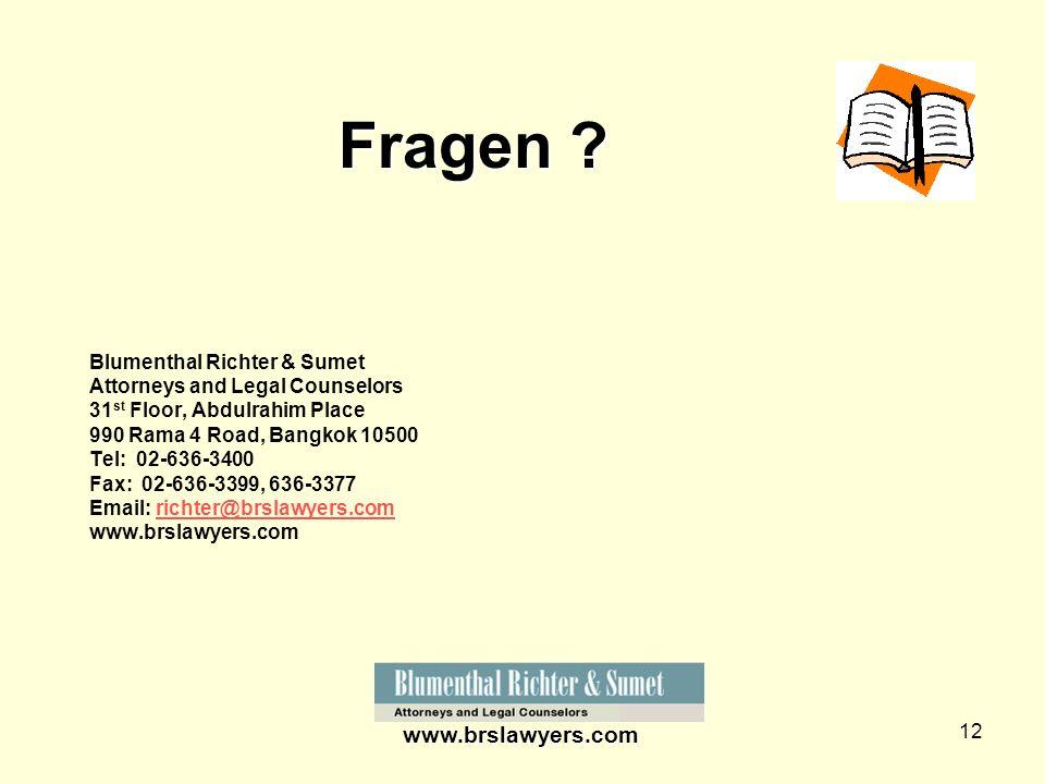 Fragen www.brslawyers.com Blumenthal Richter & Sumet