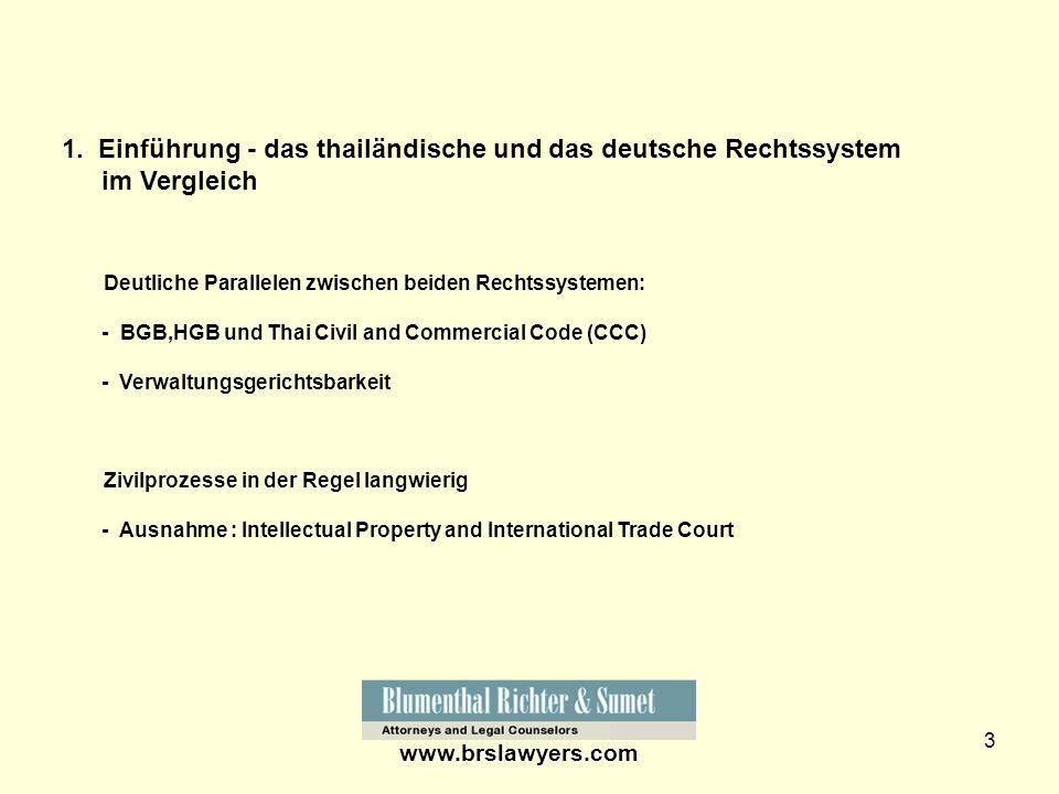 1. Einführung - das thailändische und das deutsche Rechtssystem im Vergleich