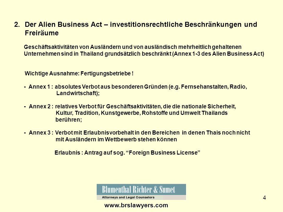 Der Alien Business Act – investitionsrechtliche Beschränkungen und