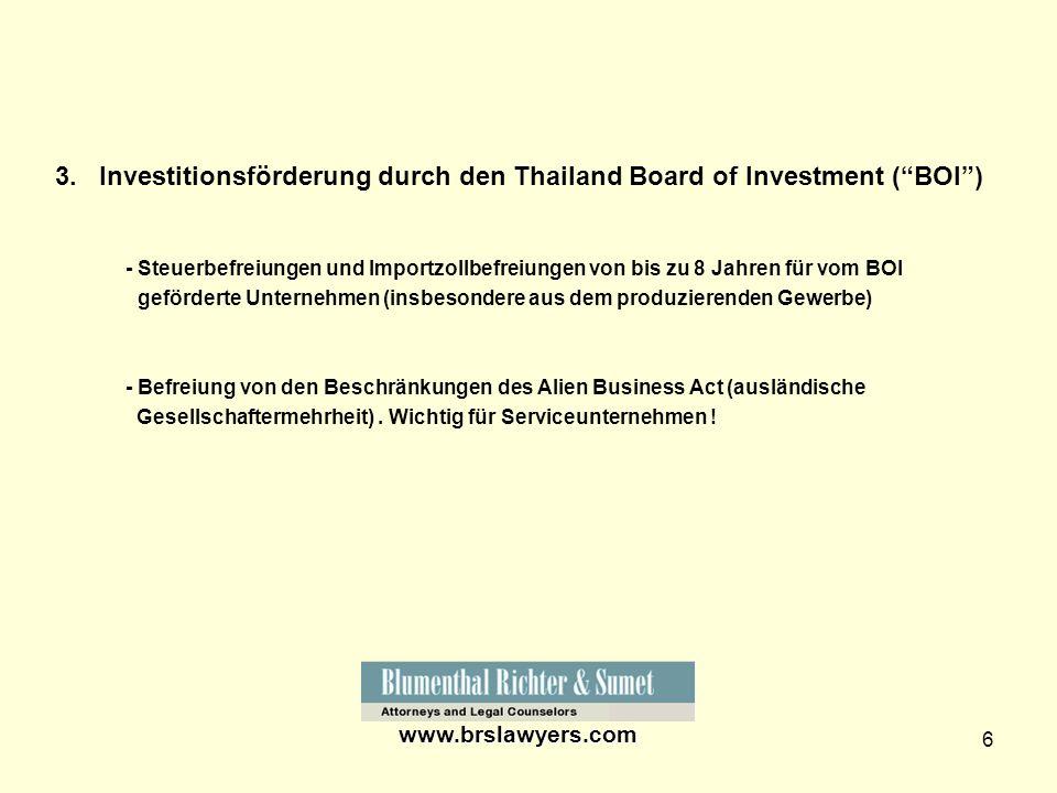 3. Investitionsförderung durch den Thailand Board of Investment ( BOI )